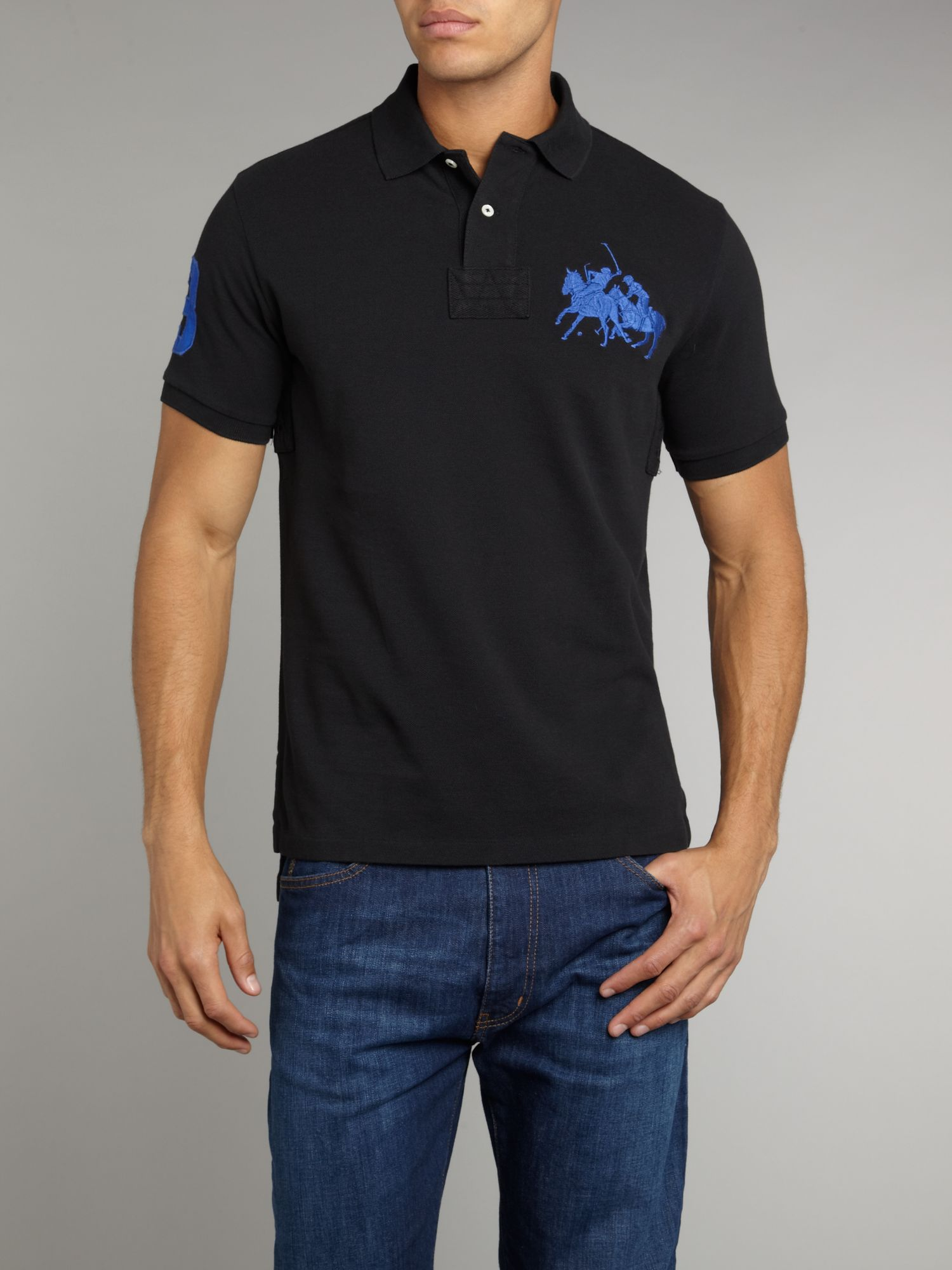 Polo ralph lauren slim fitted dual match polo shirt in for Black fitted polo shirt