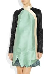 Proenza Schouler Leatherpaneled Silkshantung Dress in Green (mint) - Lyst
