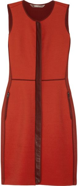 Reed Krakoff Leather Trimmed Twill and Felt Dress in Red - Lyst