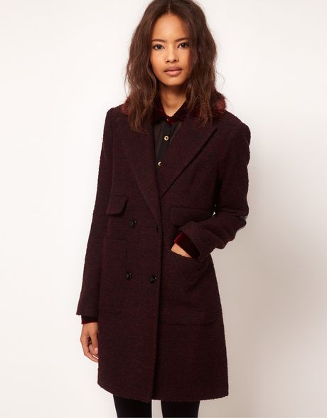 Asos Collection Asos Fur Collar Car Coat in Purple (burgundy) - Lyst