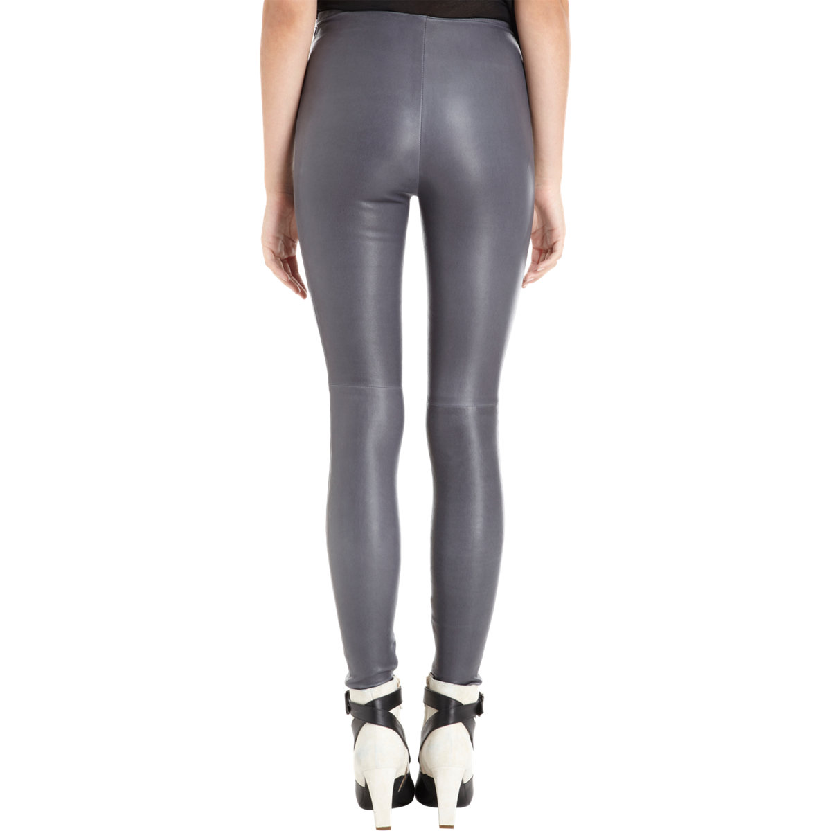 Balenciaga Leather Leggings in Gray | Lyst