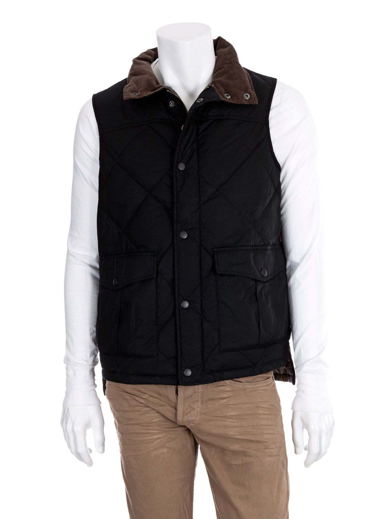 Barbour Quilted Waxed Gilet Vest In Black For Men Lyst