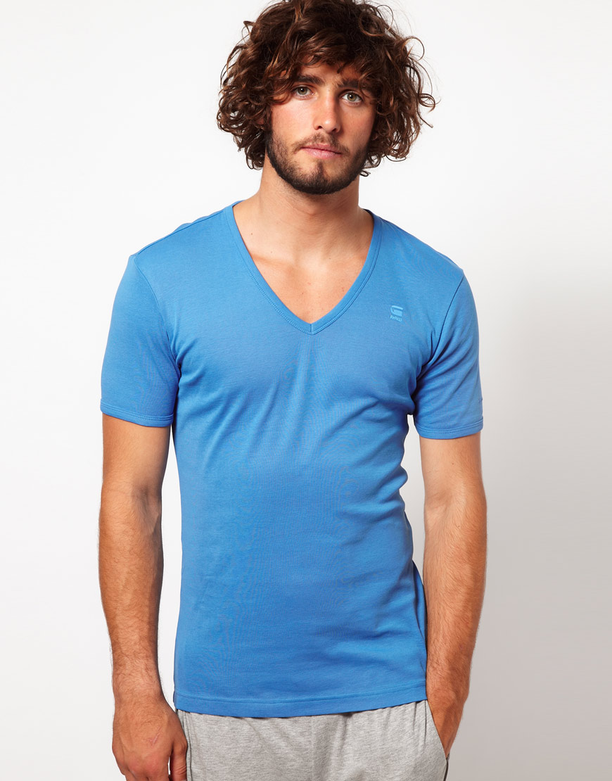 star raw v neck two pack t shirt in blue for men lyst. Black Bedroom Furniture Sets. Home Design Ideas