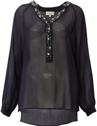 Linea Weekend Embellised Collar Blouse - Lyst