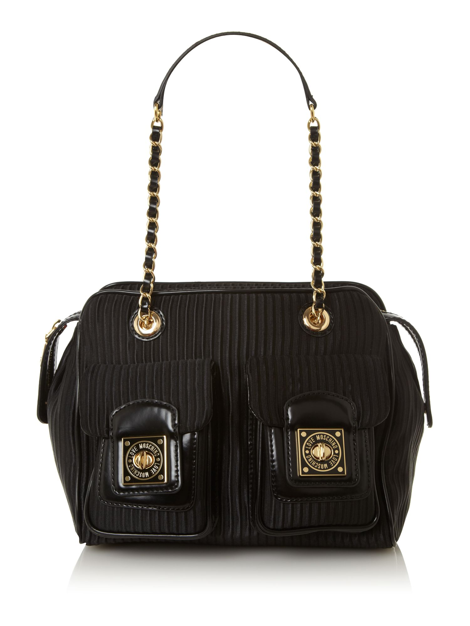 love moschino otto pleat bowling bag in black lyst. Black Bedroom Furniture Sets. Home Design Ideas
