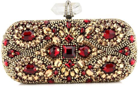 Marchesa Crystal Embroidered Clutch in Gold - Lyst
