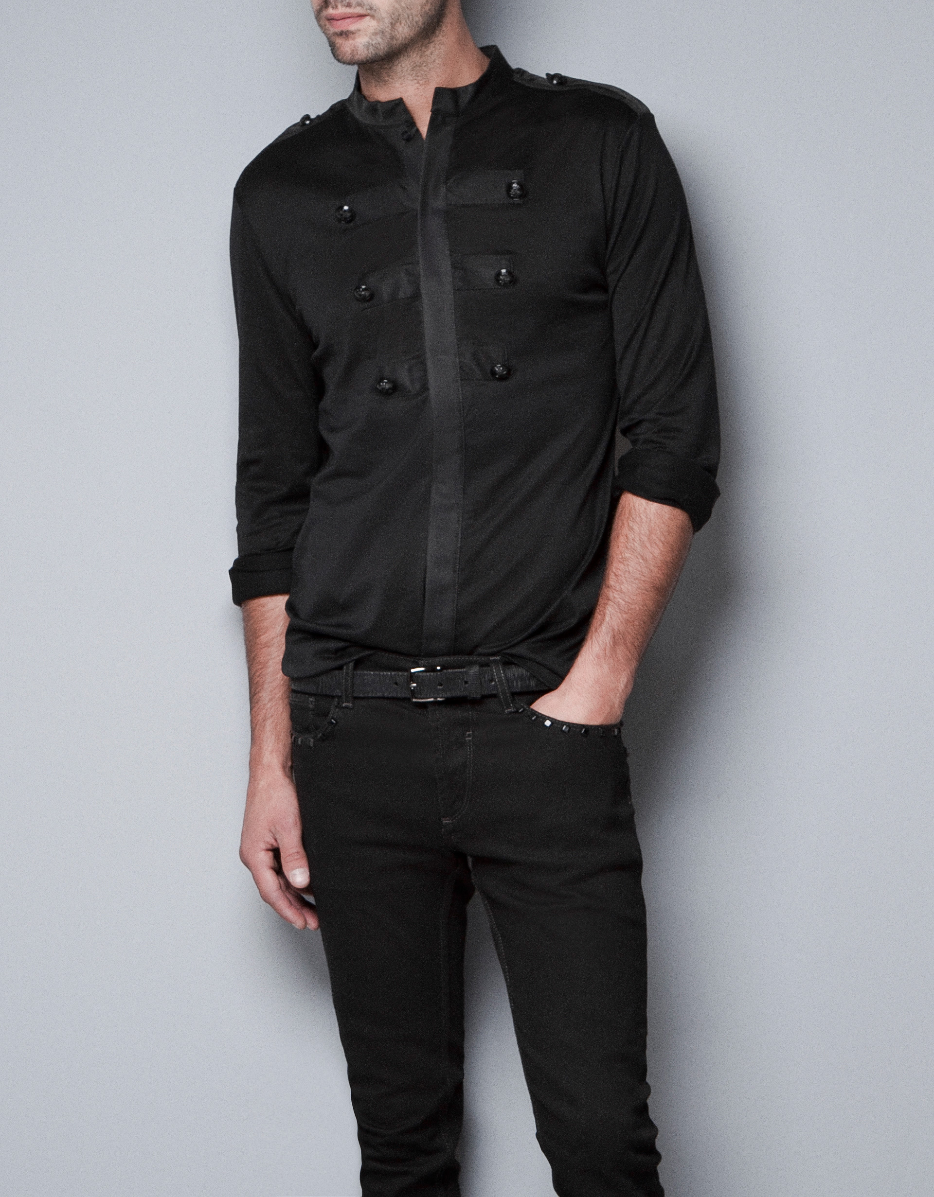 Zara shirt with military style buttons in black for men lyst for Zara mens shirts sale