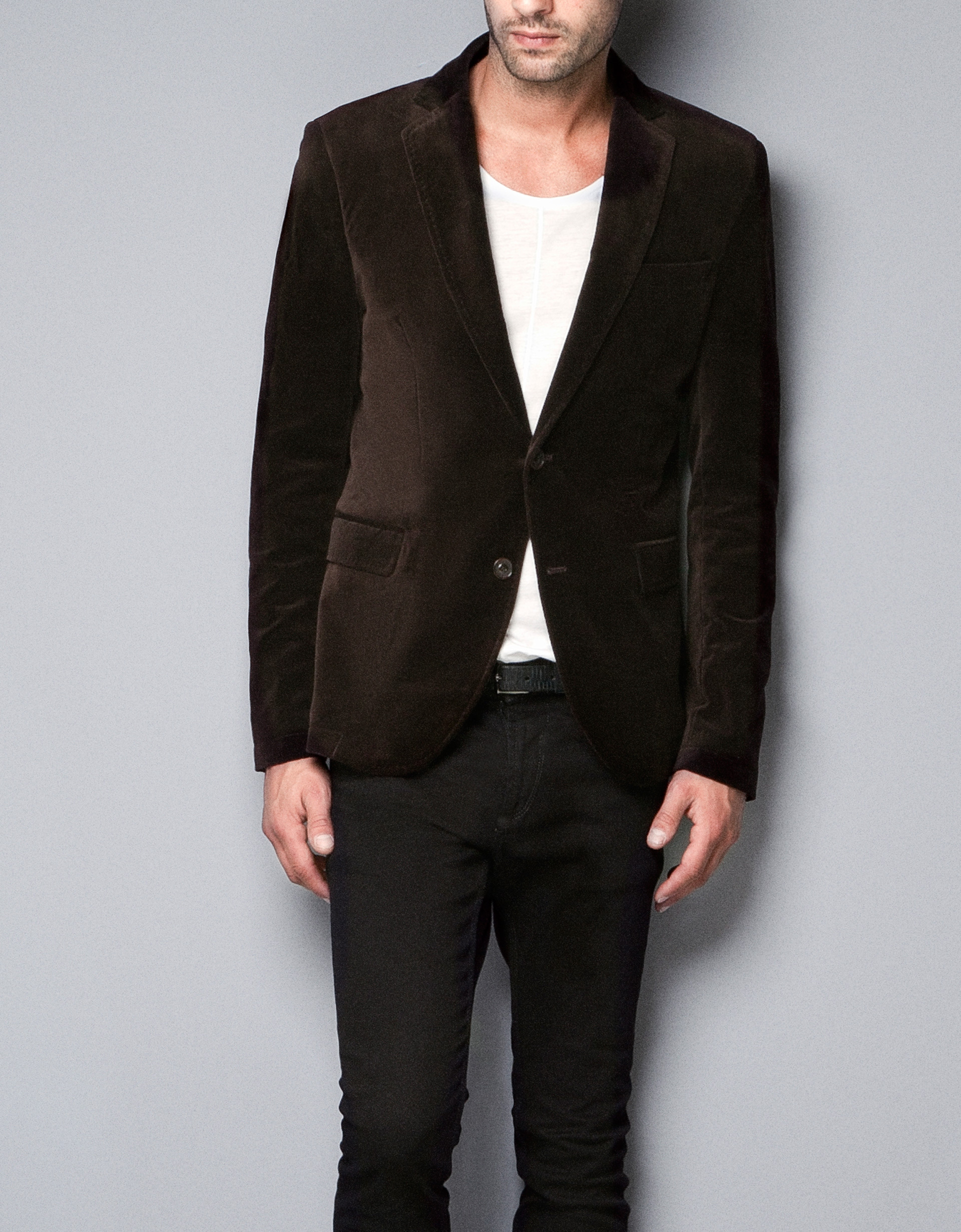Zara Velvet Blazer in Brown for Men | Lyst