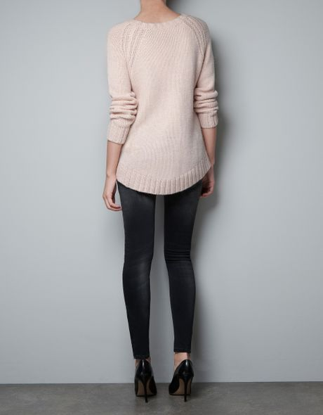 Arm Knitting Sweater : Zara sweater with different knit at arm holes in pink