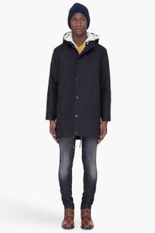 A.P.C. Long Black Hooded Canvas Parka - Lyst