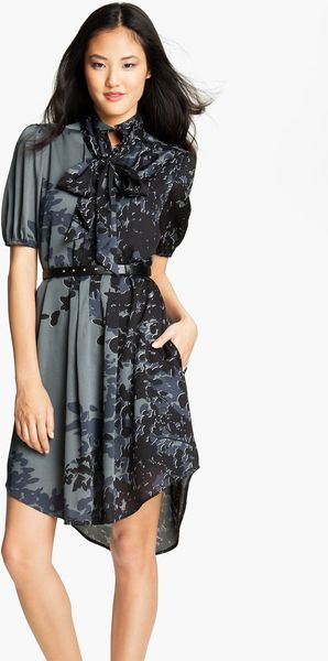 Jessica Simpson Print Puff Sleeve Shirtdress - Lyst