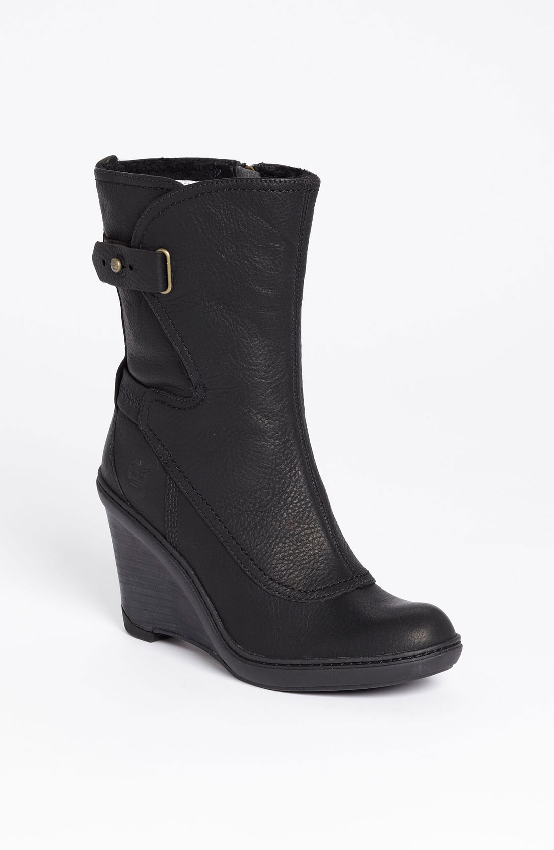 timberland stratham heights wedge boot in black lyst