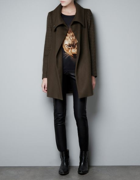Zara Coat with Appliqués On The Sleeves in Green (khaki) - Lyst