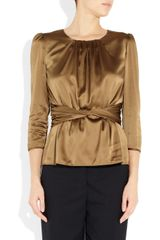 Burberry Stretch Silk Satin Top in Brown (mocha) - Lyst