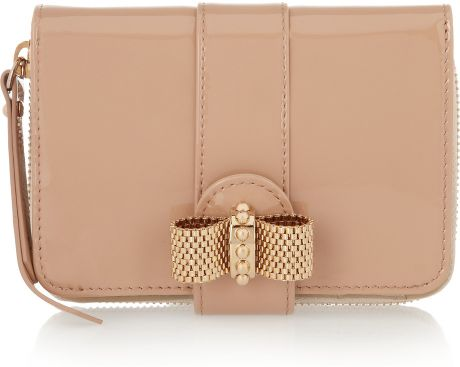 Christian Louboutin Patentleather Bow Wallet in Beige (nude) - Lyst