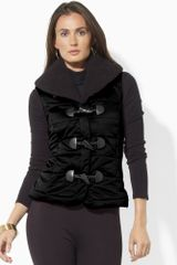 Lauren by Ralph Lauren Satin Quilted Vest - Lyst
