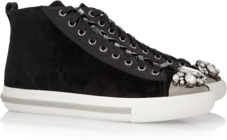 Miu Miu Velvet Hightop Sneakers in Black - Lyst