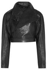 Rick Owens Cropped Leather Jacket - Lyst