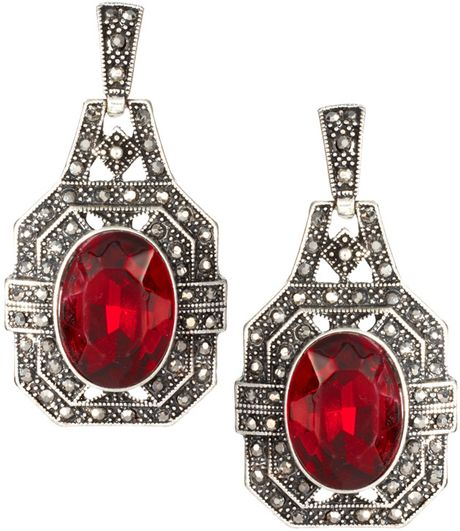 River Island Vintage Red Stone Drop Earrings in Red