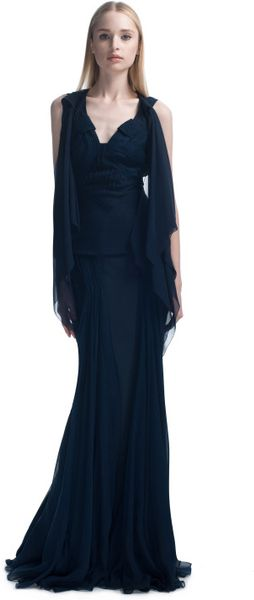 Zac Posen Flutter Sleeve Evening Gown in Blue (midnight) - Lyst