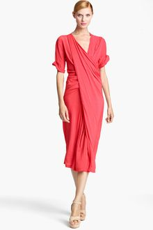 Donna Karan New York Collection Asymmetrical Draped Crepe Dress - Lyst