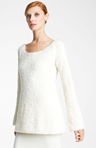 Donna Karan New York Collection Bouclé Wool Cashmere Sweater in White (vellum) - Lyst