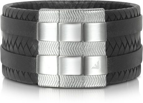 Emporio Armani Wide Braided Leather Bracelet In Silver For