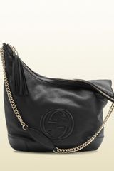 Gucci Soho Black Leather Shoulder Bag with Chain Strap - Lyst