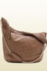 Gucci Soho Maple Brown Leather Shoulder Bag with Chain Strap - Lyst