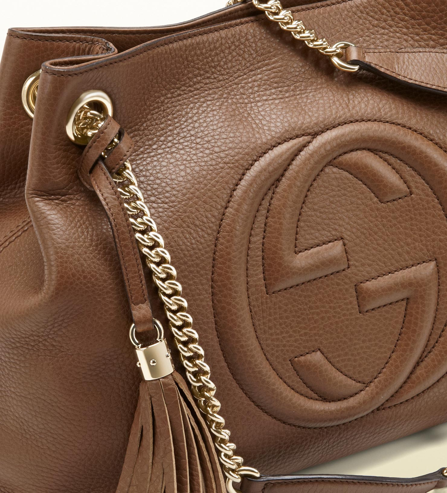 655635ad359 Lyst - Gucci Soho Leather Shoulder Bag in Brown