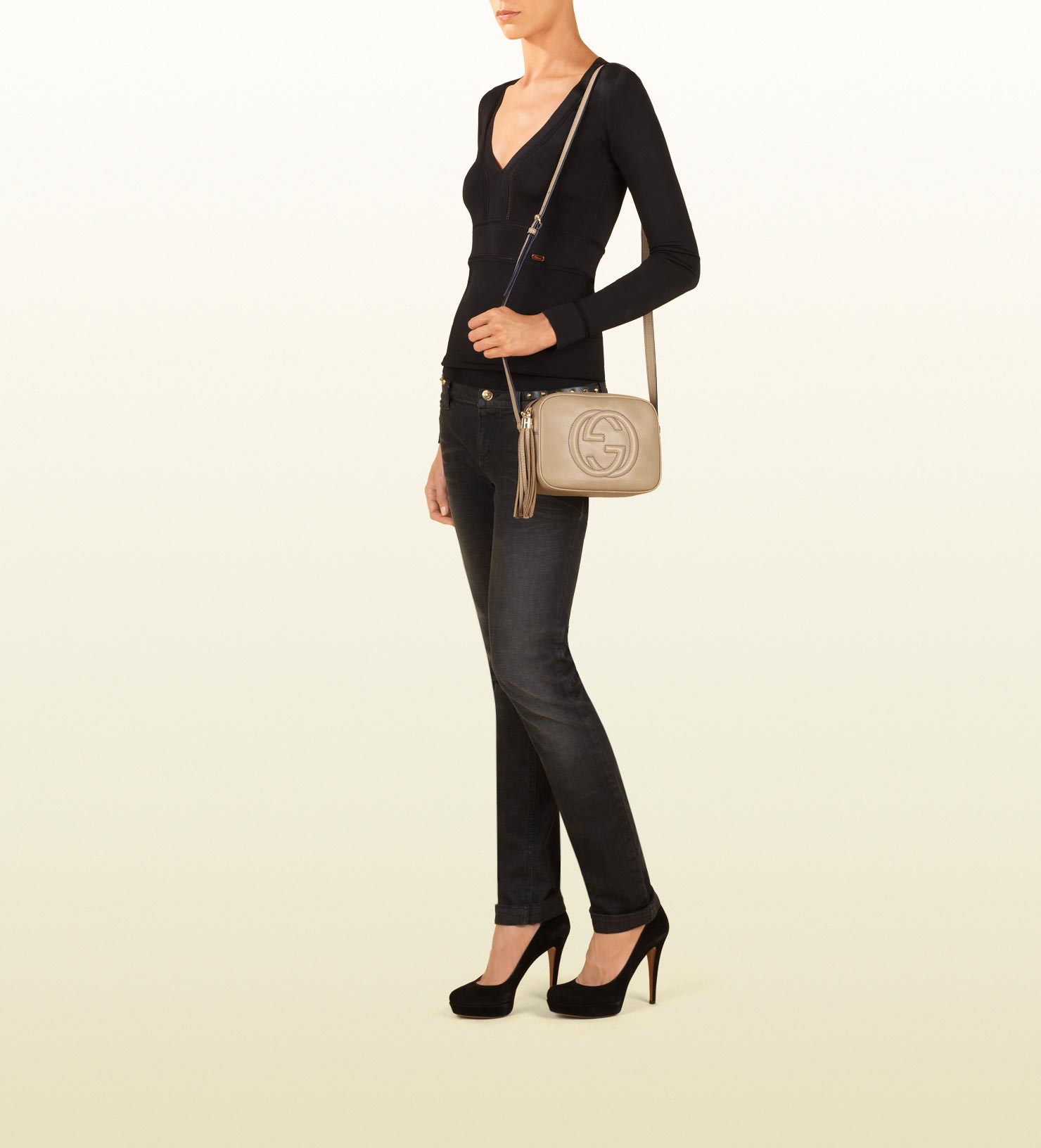 204e765ef52cdd Gucci Soho Cream Leather Disco Bag in Natural - Lyst