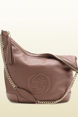 Gucci Soho Pink Tan Leather Shoulder Bag with Chain Strap - Lyst
