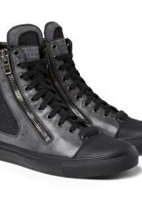 Maison Martin Margiela Leather and Wool High Top Sneakers - Lyst