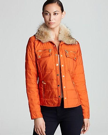 Michael Kors Michael Puffer Coat with Fur Hood in Orange (orange spice