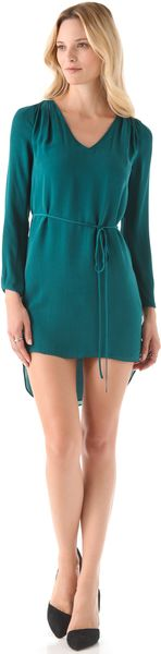 Rebecca Minkoff Deep V- Dress with Sash - Lyst