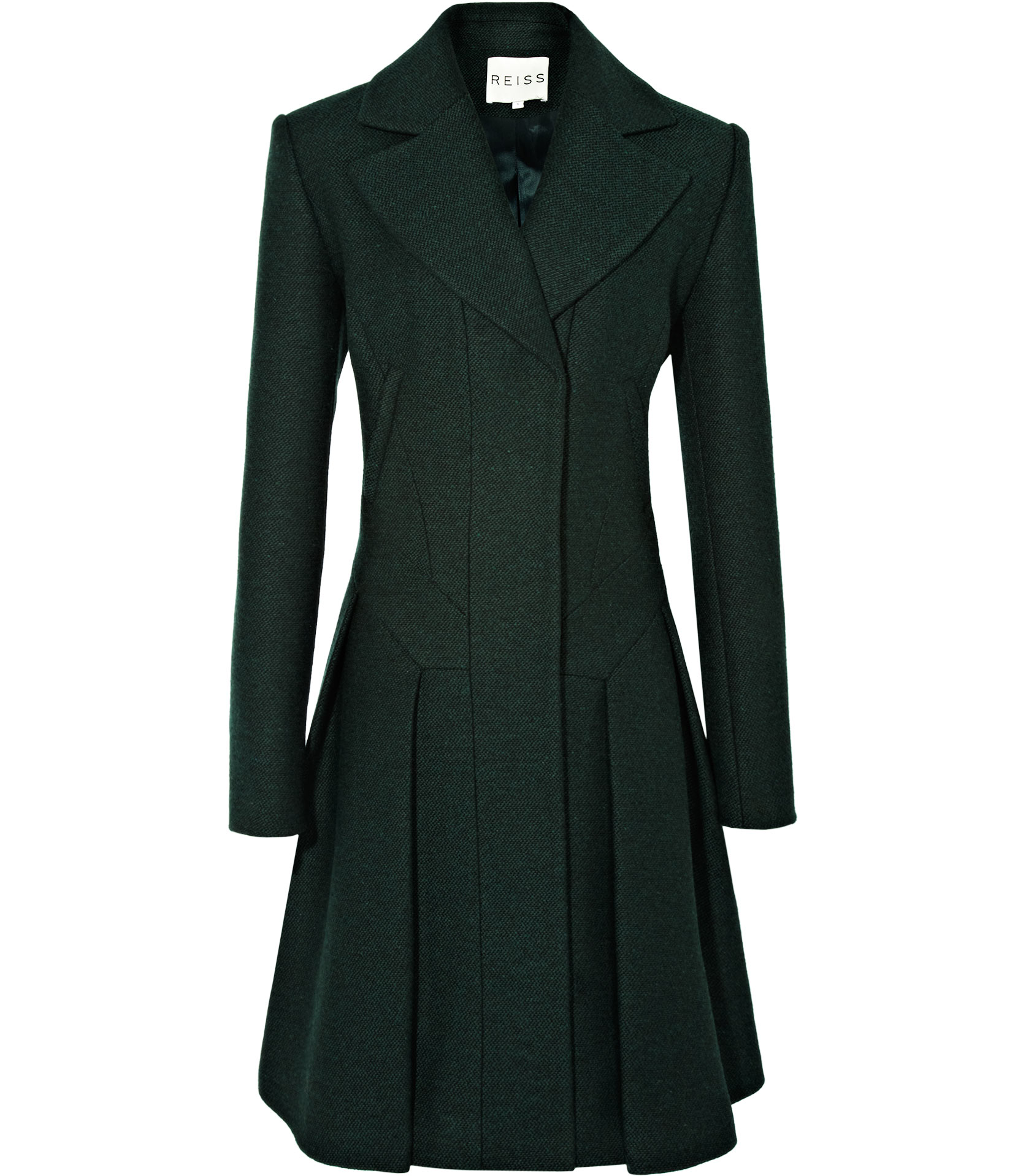 Reiss Fit And Flare Coat In Green Lyst