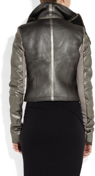 Rick Owens Metallic Leather and Shearling Biker Jacket in Silver - Lyst