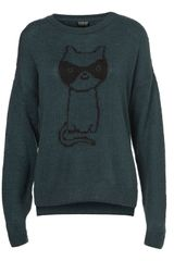 Topshop Knitted Cat Burglar Jumper - Lyst