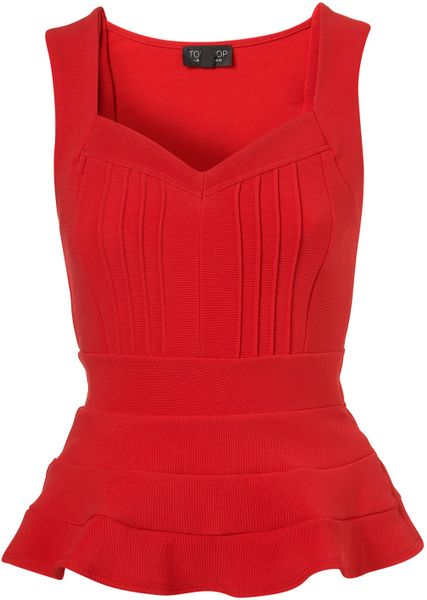 Topshop Bandage Peplum Top in Red