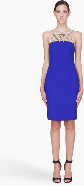 Versace Silk Cocktail Dress in Blue - Lyst