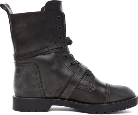 Alexander Wang Daria Distressed High Combat Boot In Black