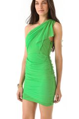 Alice + Olivia One Shoulder Drape Dress in Green - Lyst