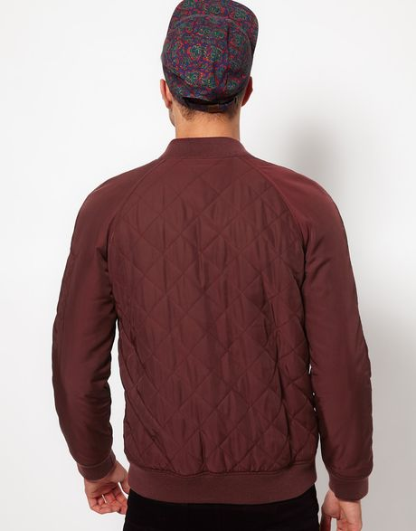 Asos Bomber Jacket In Quilted Fabric In Red For Men Burgundy Lyst