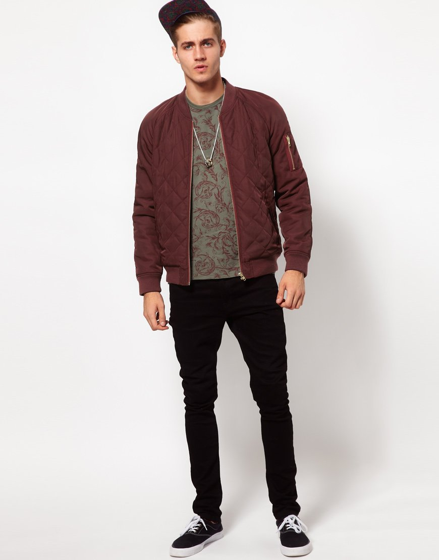 Asos Bomber Jacket in Quilted Fabric in Red for Men | Lyst