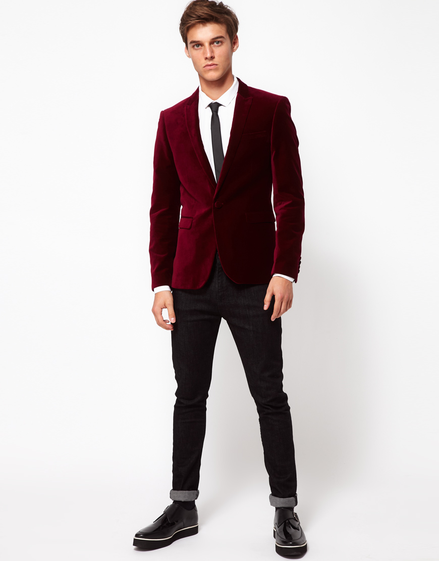 Asos Asos Slim Fit Blazer in Velvet for Men | Lyst