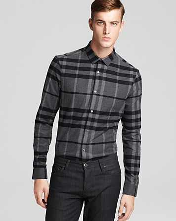 Burberry london flannel checked shirt slim fit in gray for for Mens slim fit flannel shirt