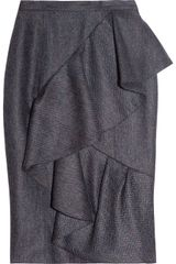 Burberry Prorsum Ruffled Tweed Skirt - Lyst