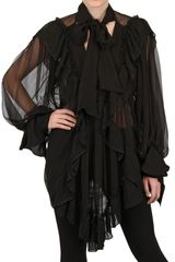 John Galliano Ruffled Silk Chiffon Shirt - Lyst