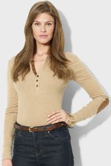 Lauren by Ralph Lauren Faux Suede Trim Henley Top - Lyst
