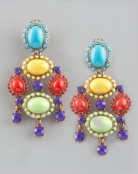 Oscar De La Renta Cabochon Drop Clip Earrings Multicolor in Multicolor (multi colors) - Lyst